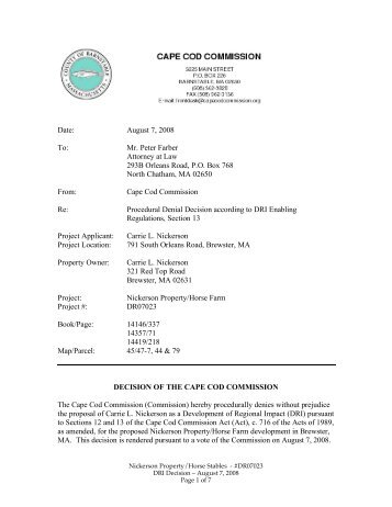Date: August 7, 2008 To - Cape Cod Commission