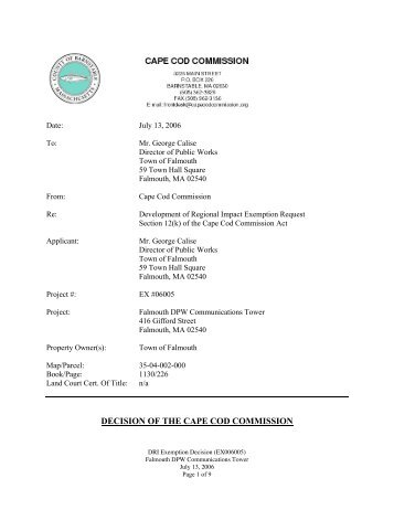 DECISION OF THE CAPE COD COMMISSION