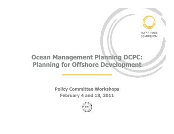 Presentation at the Policy Committee Workshops - Cape Cod ...