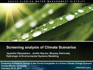 Screening analysis of Climate Scenarios - Florida Atlantic University