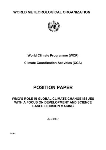 WMO's Role in Global Climate Change Issues - wcrp strategic ...