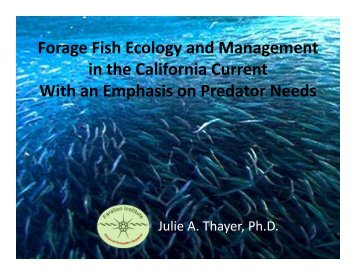 Forage Fish Ecology and Management Forage Fish Ecology and ...