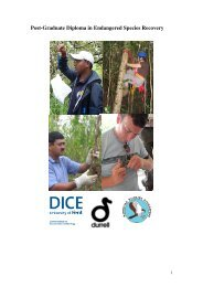Post-Graduate Diploma in Endangered Species Recovery
