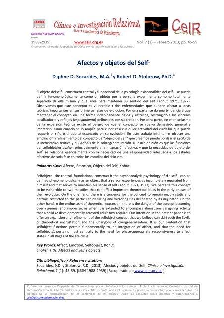 Afectos y objetos del Self - Psicoterapia Relacional