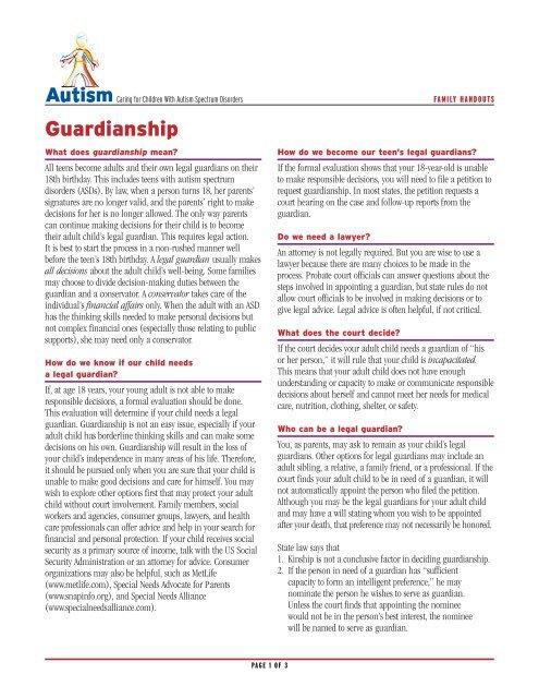Guardianship (Form Letter) - Advocare