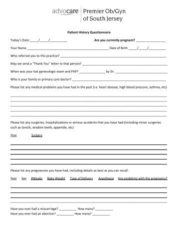 patient health history questionnaire - Template