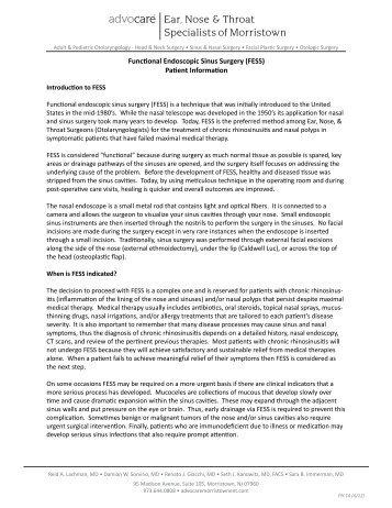 (FESS) Patient Information - Advocare