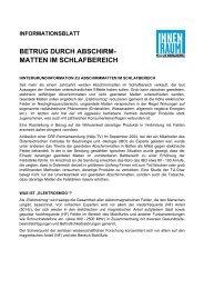 BETRUG DURCH ABSCHIRM- MATTEN IM SCHLAFBEREICH - EZU
