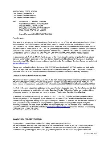 Provider Letter - Consolidated Services Group