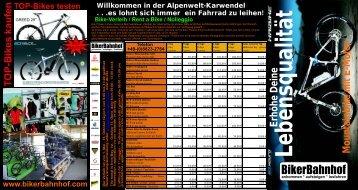 Unsere Verleihprodukte im Ãœberblick: Telefon 08823 - BikerBahnhof