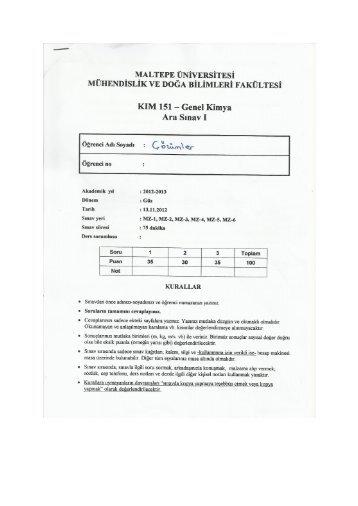 KIM 151 Genel Kimya Ara Sınav I Çözümü.pdf - Maltepe Üniversitesi