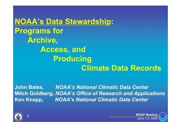 NOAA's Data Stewardship: Programs for Archive, Access, and ...