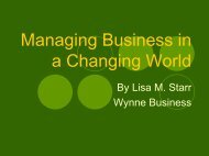 Managing Business in a Changing World - Wynne Business