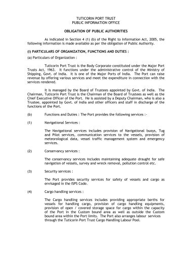 Manual Published under the Right to Information Act, 2005 - VO ...