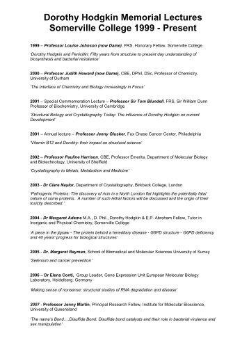 Dorothy Hodgkin Memorial Lectures, Somerville College 1999 ...