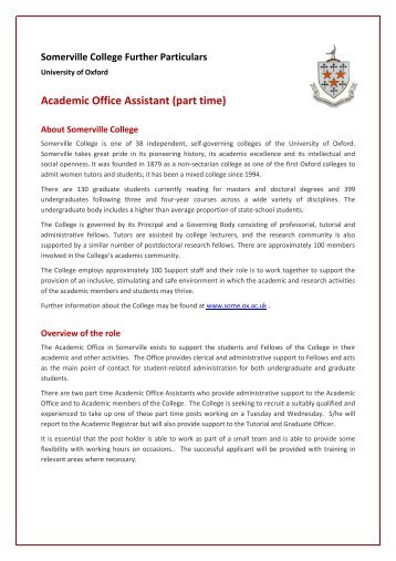 Academic Office Assistant (part time) - Somerville College