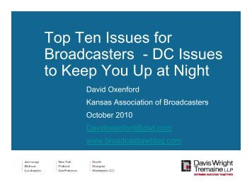 Top Ten Issues for Broadcasters - DC Issues to Keep You Up at Night