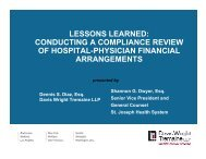 conducting a compliance review of hospital-physician financial ...