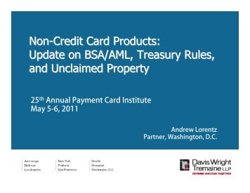 Non-Credit Card Products - Davis Wright Tremaine