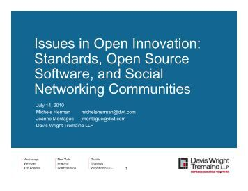Issues in Open Innovation: Standards, Open Source Software, and ...