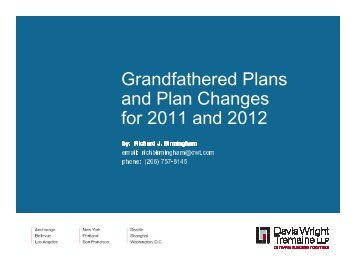 Grandfathered Plans and Plan Changes for 2011 and 2012