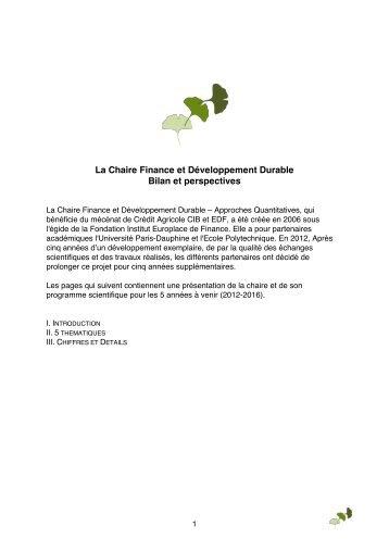 La Chaire Finance et Développement Durable Bilan et perspectives