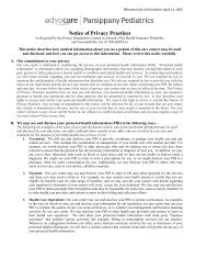 Notice Of Privacy Practices As Required by the Privacy ... - Advocare