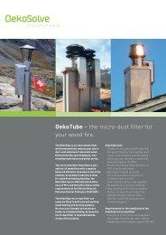 OekoTube – the micro-dust filter for your wood fire. - OekoSolve AG