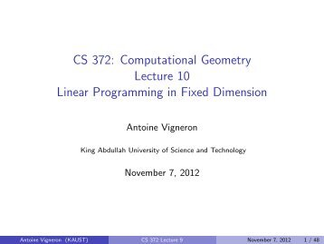 Linear programming in fixed dimension - Geometric Algorithms Group