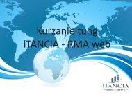 Kurzanleitung iTANCIA - RMA web