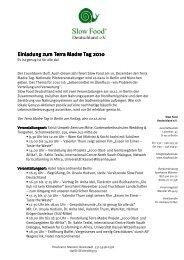 Einladung zum Terra Madre Tag 2010 Einladung ... - Orange Press