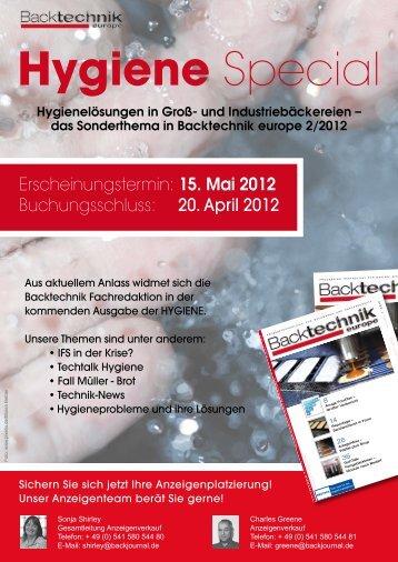 Erscheinungstermin: 15. Mai 2012 Buchungsschluss ... - Backtechnik