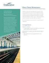 Direct Treaty Reinsurance - Endurance Specialty Insurance Ltd.