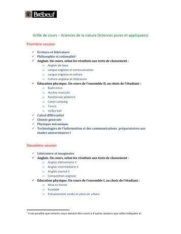 Grille de cours – Sciences de la nature (Sciences pures et ...