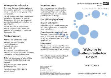 Budleigh Salterton Hospital - Northern Devon Healthcare NHS Trust ...