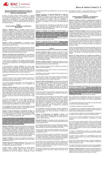 Contrato Bancario de Apertura de Cuenta y Servicios ... - BAC