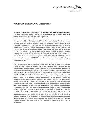 PRESSEINFORMATION 16. Oktober 2007 - Project Raceboat