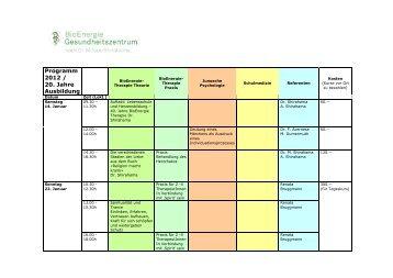 Programm 2012 / 20. Jahre Ausbildung - BioEnergie-Therapie
