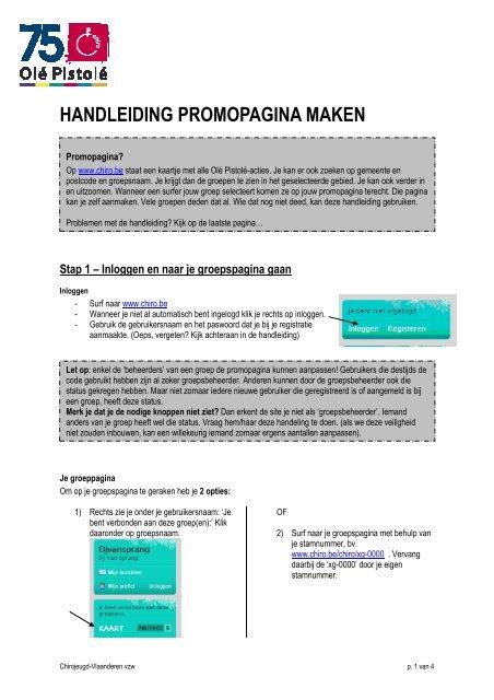 HANDLEIDING PROMOPAGINA MAKEN - Chiro