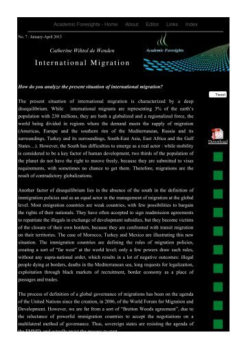 International Migration - Academic Foresights