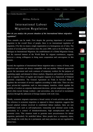 International Labour Migration Regulation - Academic Foresights
