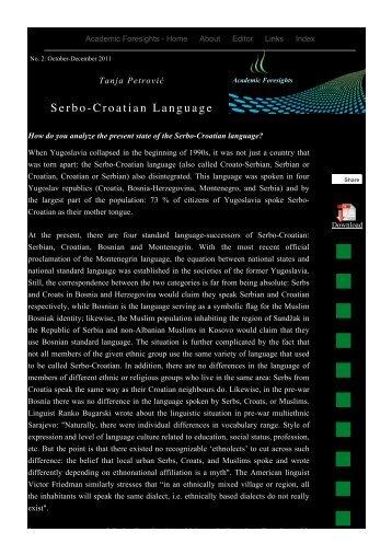 Serbo-Croatian Language - Academic Foresights
