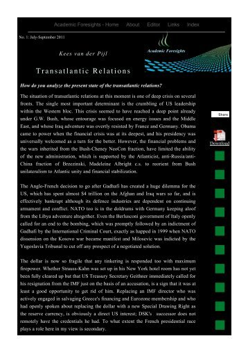Transatlantic Relations - Academic Foresights