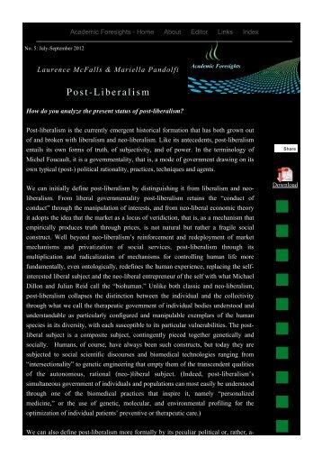 Post-Liberalism - Academic Foresights