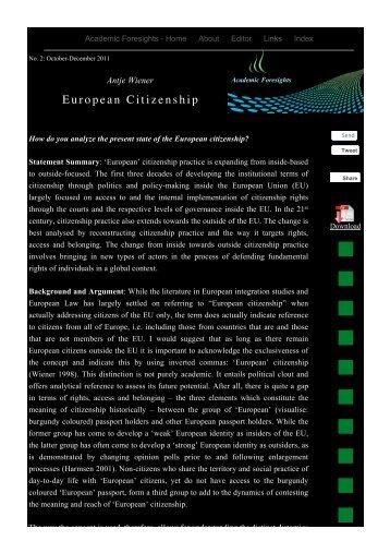 European Citizenship - Academic Foresights