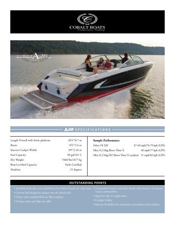 A28 SPECIFICATIONS COBALT OUTSTANDING POINTS