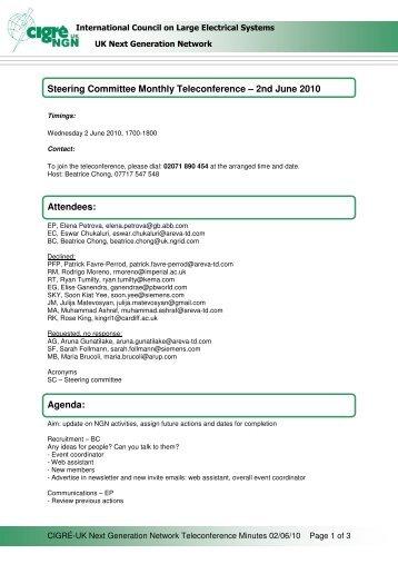 SC Telecon Minutes 2 June 2010 ( pdf , 42 kB ) - Cigre