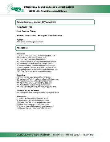 SC Telecon Minutes 6 June 2011 ( pdf , 72 kB ) - Cigre