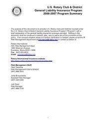 Rotary General Liability Insurance Program Summary