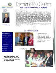 DG Handover 2005 - Rotary District 6360